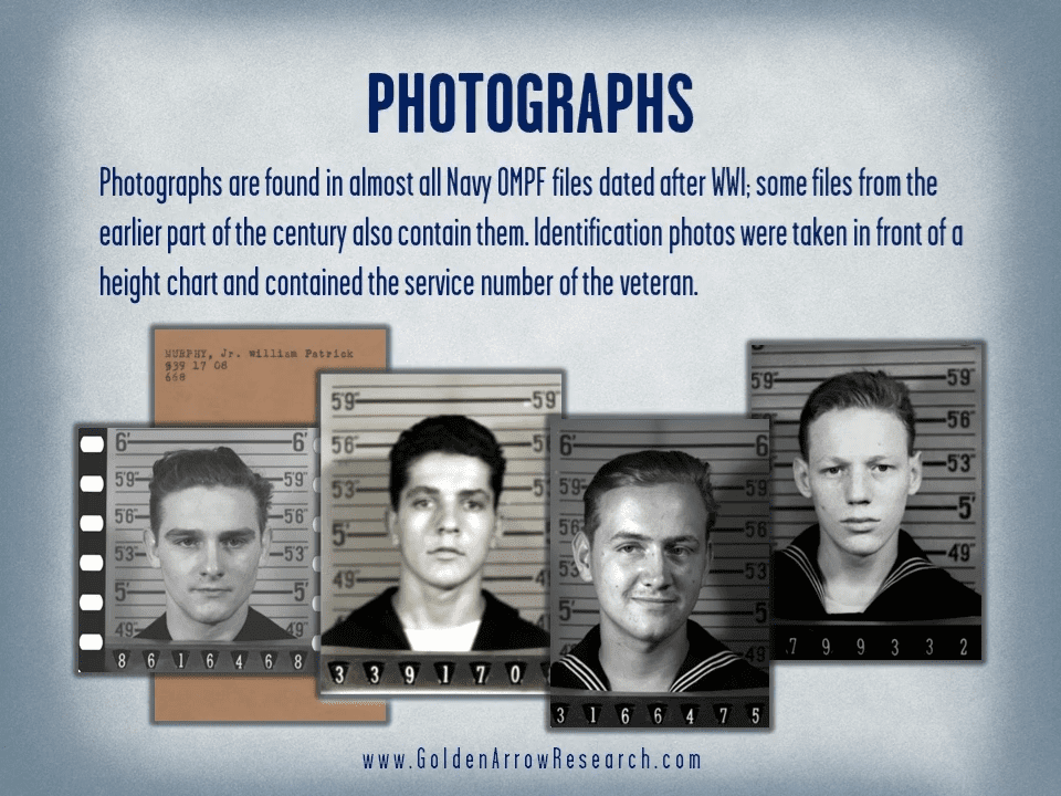Photos of WWII navy veterans from the official military personnel file (OMPF) military service record maintained at the National Archives.