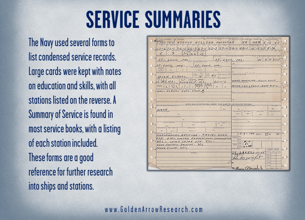 summary of service WWII OMPF service records in the WWII navy official military personnel file