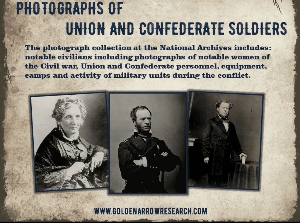 Photos of notable civil war personalities both military and civilian which are found at the nation archives research centers.