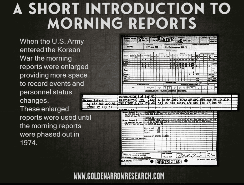Korean War morning reports enlarged correction RCT HQ asgd & jd JRTC 1951 enlistment through 1955