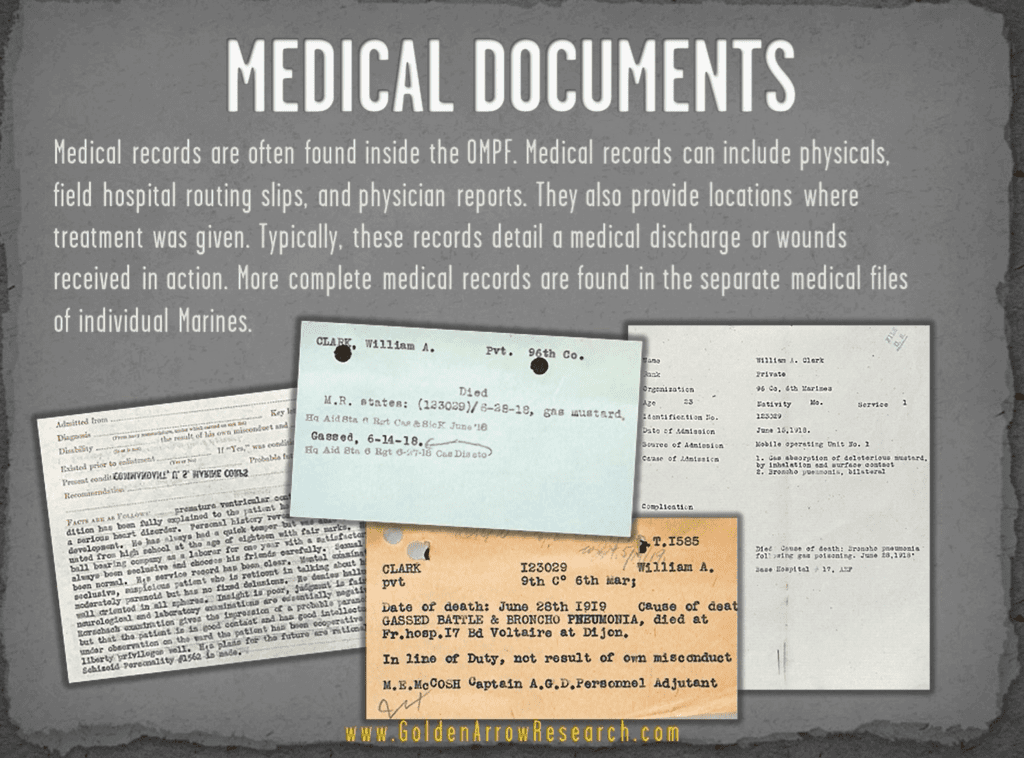 USMC OMPF military medical records from archival research of veteran records at NPRC NARA archival research center