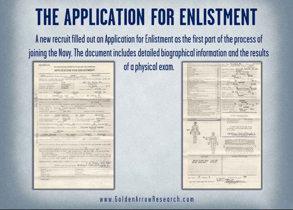 WWII Navy veteran official military personnel file OMPF application for enlistment