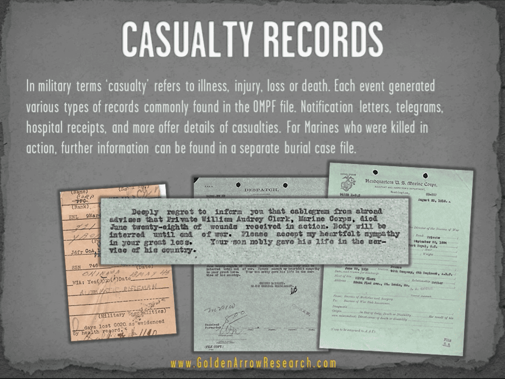 USMC OMPF casualty death KIA military record from marine veteran official military personnel file service records at NARA NPRC archival research center