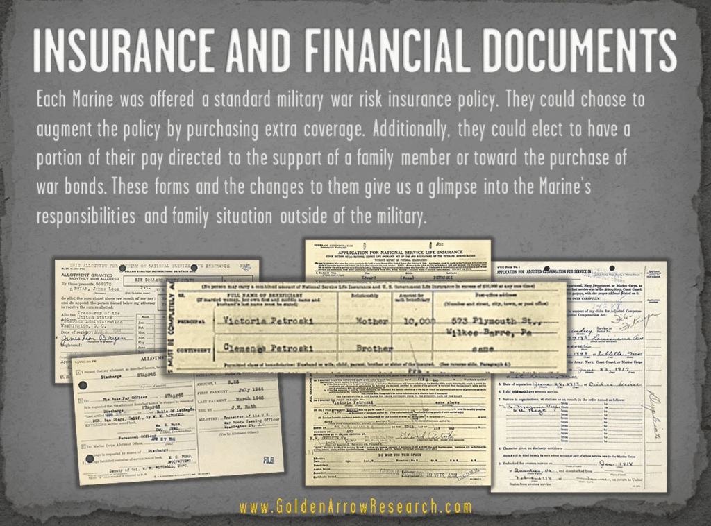 USMC OMPF military records showing insurance and financial info from military service records personnel file of USMC veteran at NPRC from archival research