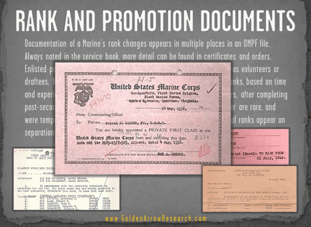 USMC OMPF Rank Promotion advancement military records of veteran from military personnel file NARA ST Louis archival research NARA NPRC