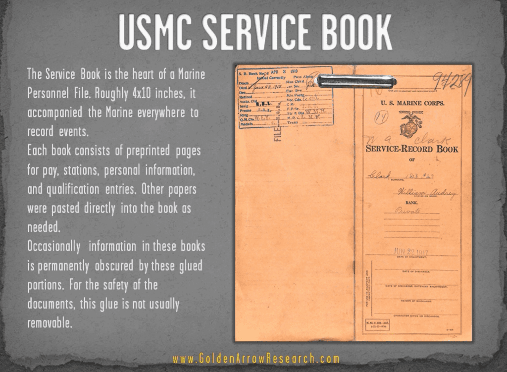 USMC OMPF military service record book from nara archival research at the national archives searching for veteran records