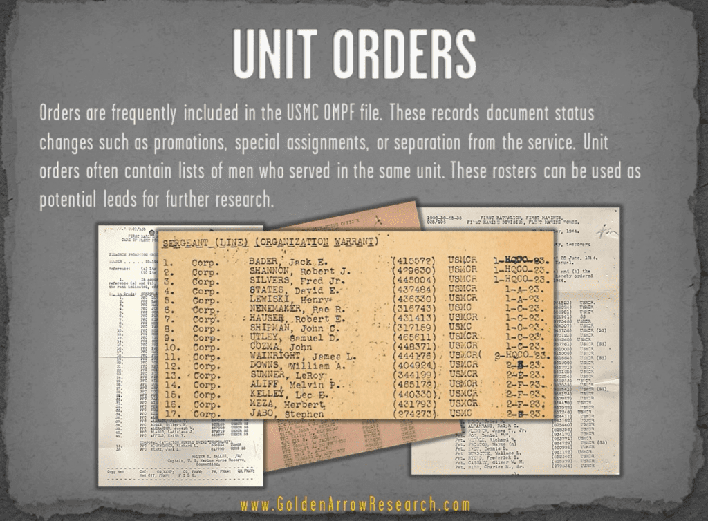 USMC OMPF military record showing unit rosters and orders in veteran military personnel file NARA NPRC archival research
