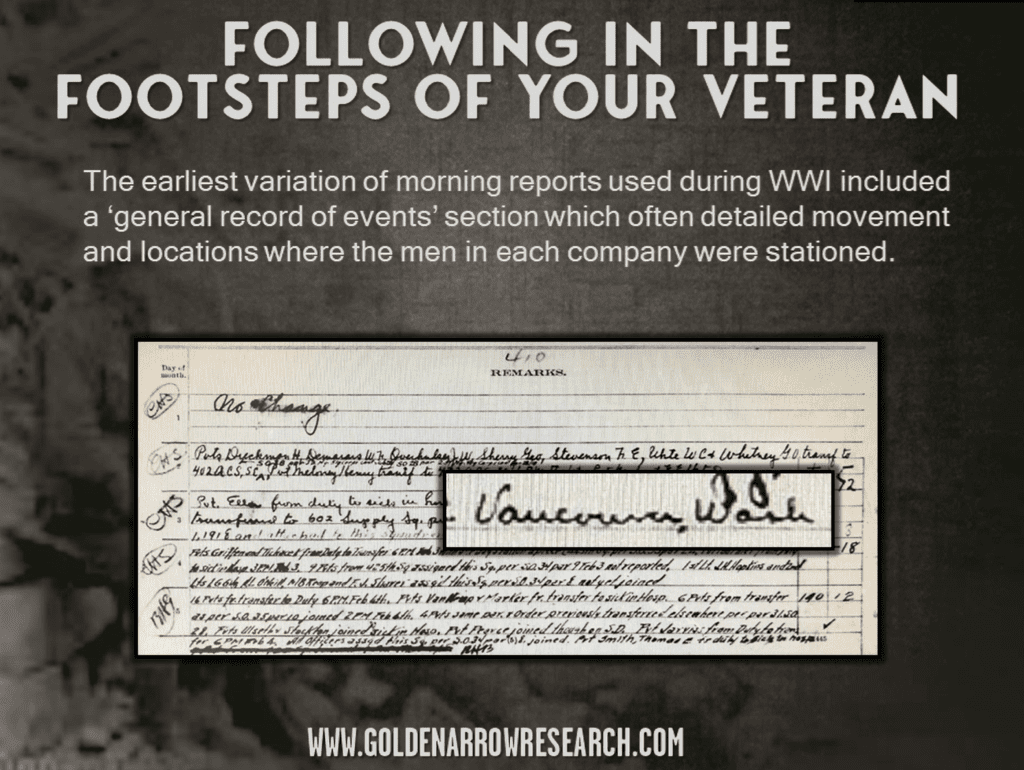 follow the movement of WWI and WWII veterans using morning reports. Reports show each location where the veteran was stationed and ship transports