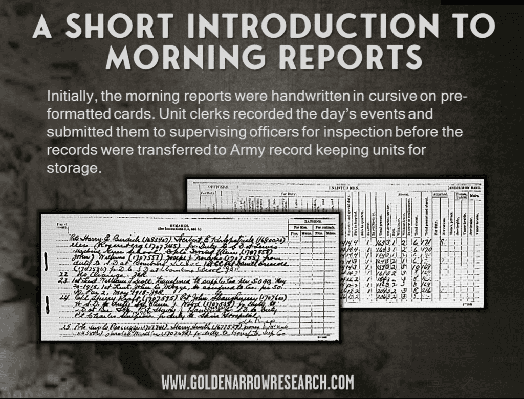 morning reports WWI written by hand cursive each day of the month unit company reports unit strength columns and rows