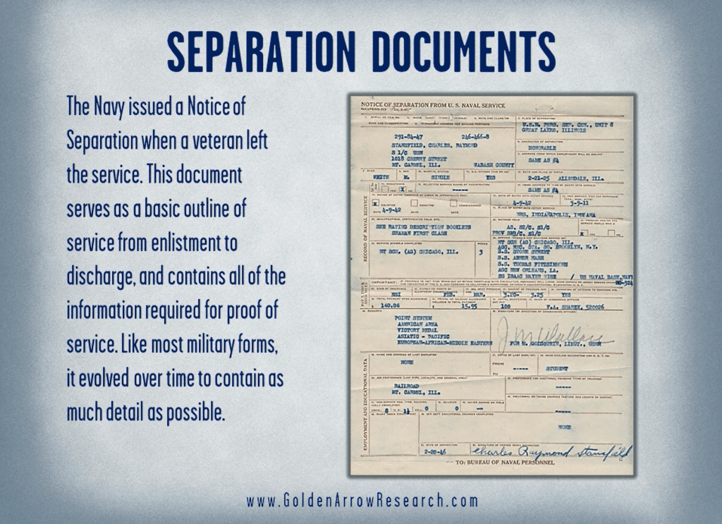 Notice of Separation from the WWII military service records in the official military personnel file OMPF at the National Archives