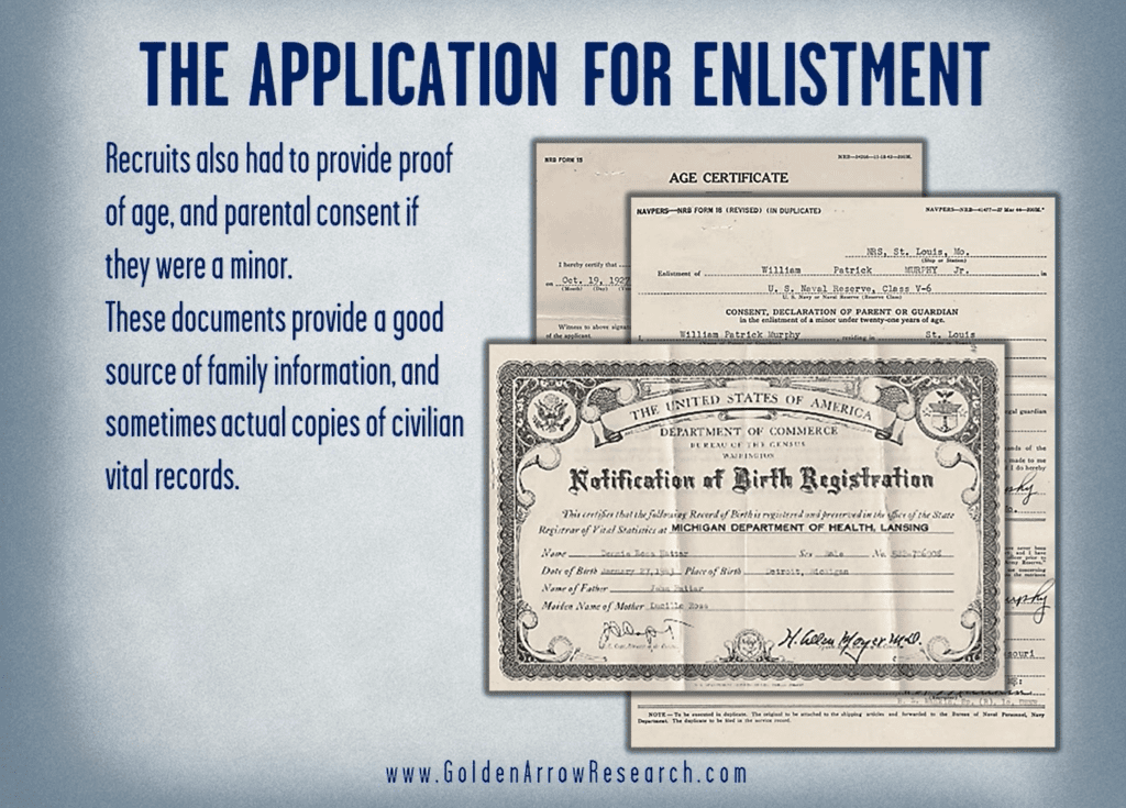 vital records for family research in the WWII Navy application for enlistment from the OMPF official military personnel file