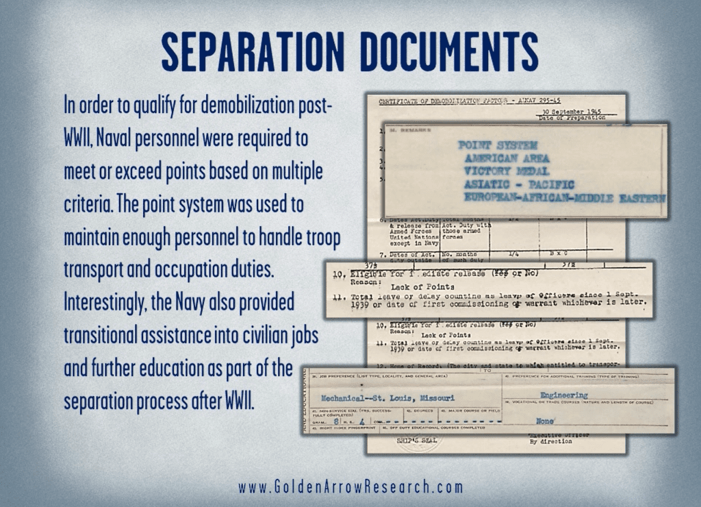 WWII Navy veteran education, training and qualification from notice of separation in the military service records of the OMPF
