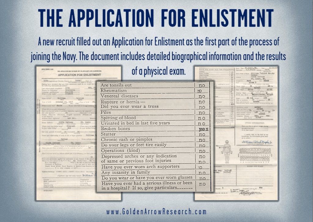 WWII Navy enlistment medical examination from the military service records in the official military personnel file OMPF