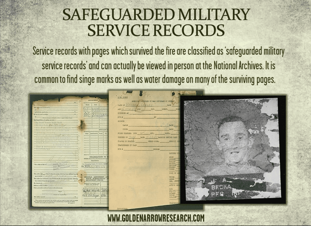 WWII Army OMPF sample pages from archival research of military service records at NARA. Pages which survived the 1973 fire.
