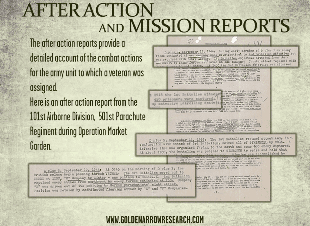 After action reports of WWII military units in combat available for military archival research at NARA. Understand the battle participation of individual WWII army veterans.