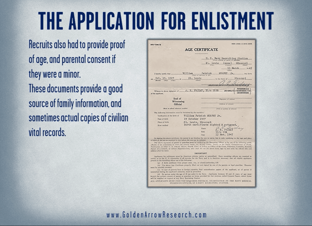 Consent of parental guardian for WWII enlistment in the Navy from military service records in the official military personnel file OMPF at NARA