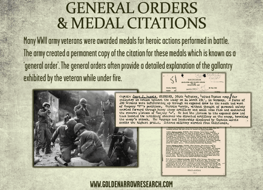 WWII army awards and general orders for individual army veterans of  world war 2. Military service Records which are available at NARA for archival research in military records.