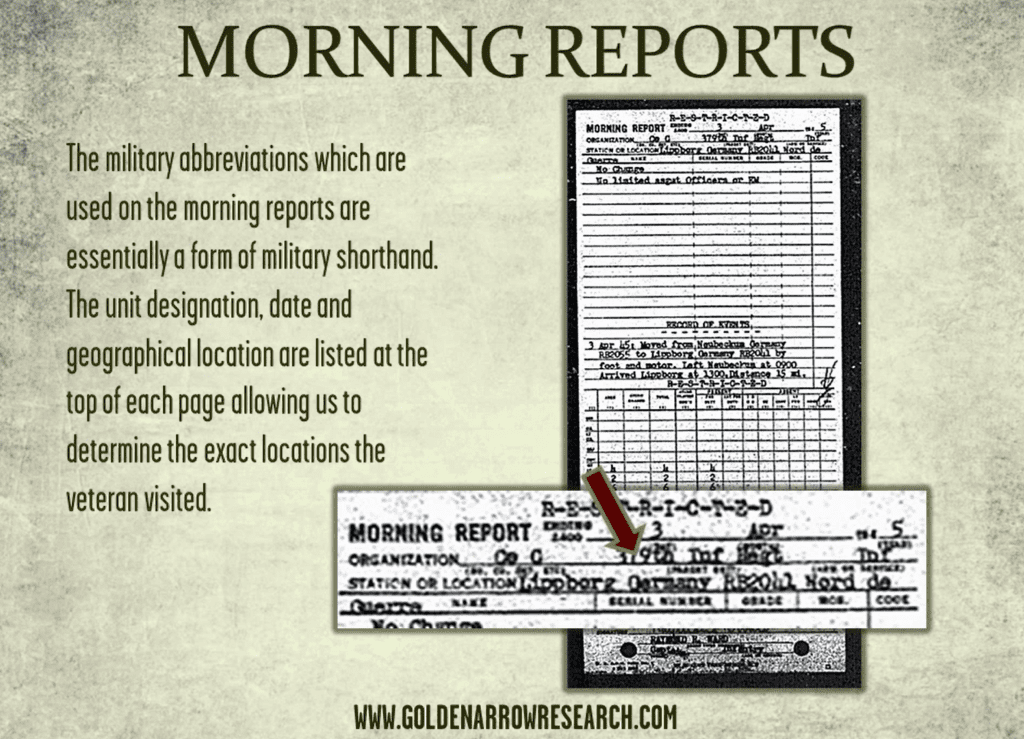 WWII morning reports showing WWII army infantry regiment geographical station location in Europe