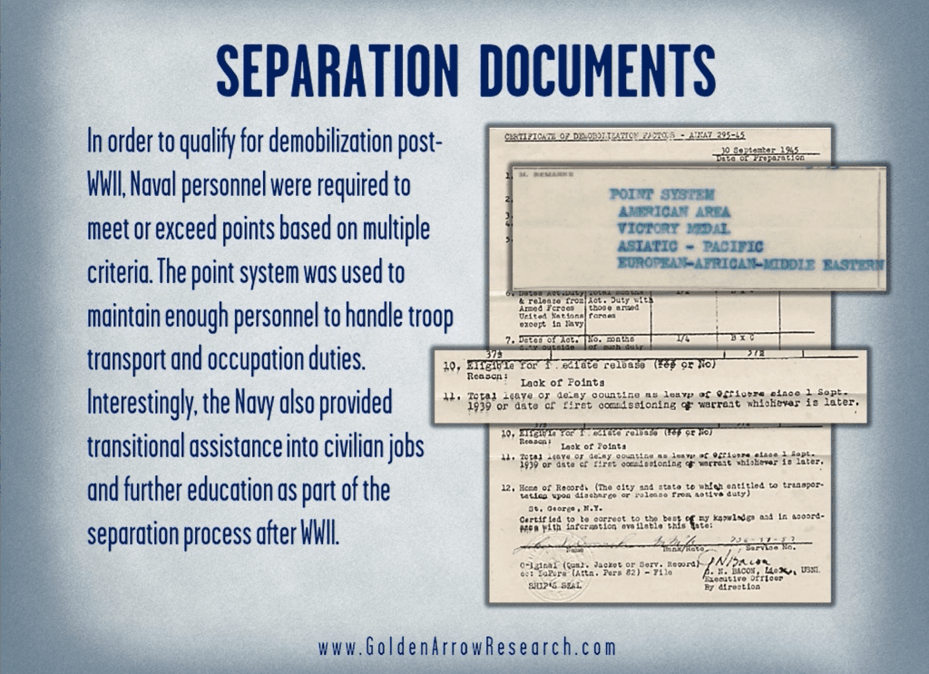 Campaign participation of a WWII Navy veteran from the notice of separation in the official military personnel file at the national archives