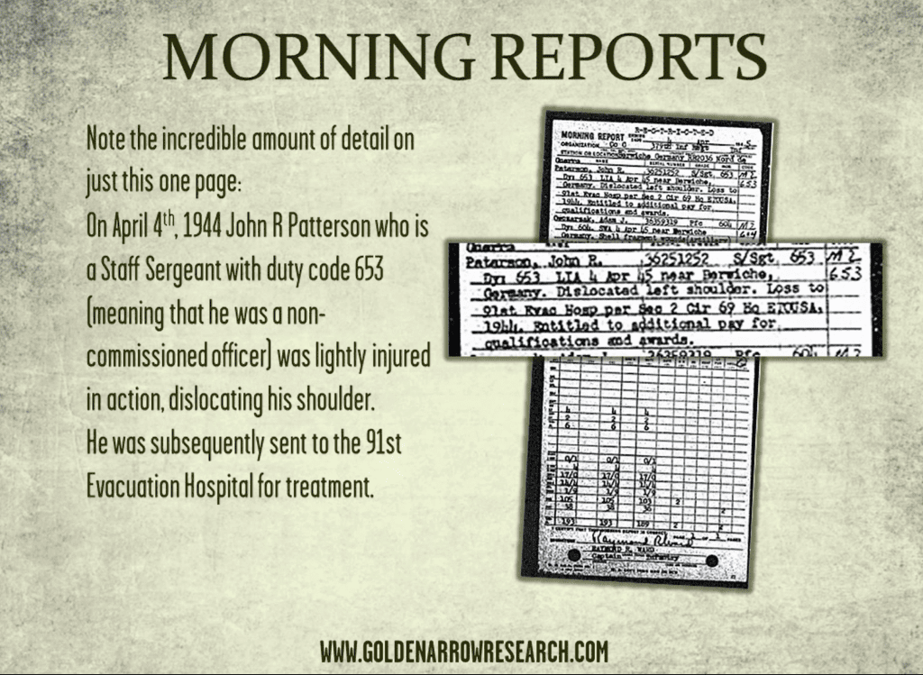 morning reports stored at the national archives which are available for archival research can allow us to trace the steps of individual WWII army veterans
