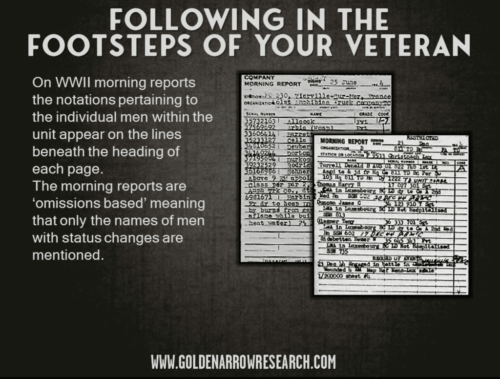 locating veterans and following their footsteps using morning reports from WWII 1944 1945. How to interpret morning reports