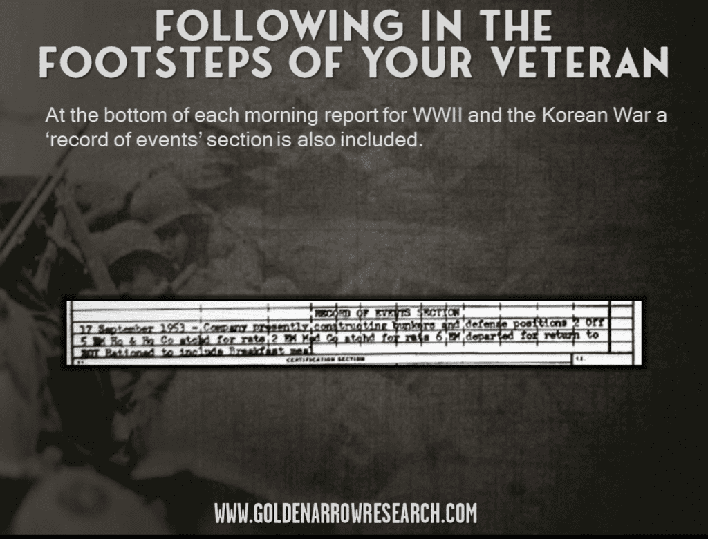 morning reports record of events 1953 attached departed returned officer constructing bunkers in Korea