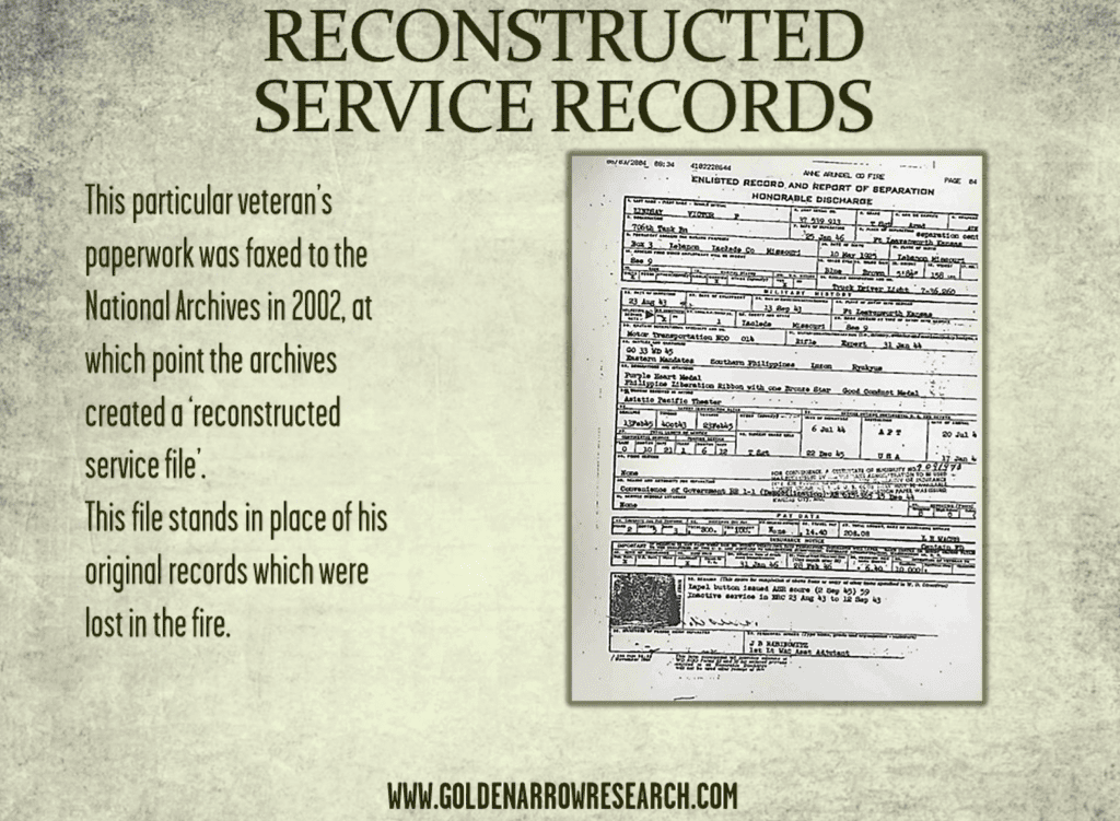 Military service records from the reconstructed Army personnel file or OMPF at the St Louis archives. Reconstructed WWII records are available for in person research at the National Archives.