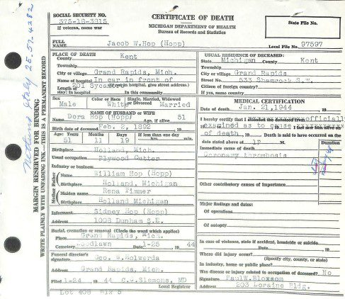 Death certificate of father from military service records showing the value of military records for genealogy researchers seeking vital records.